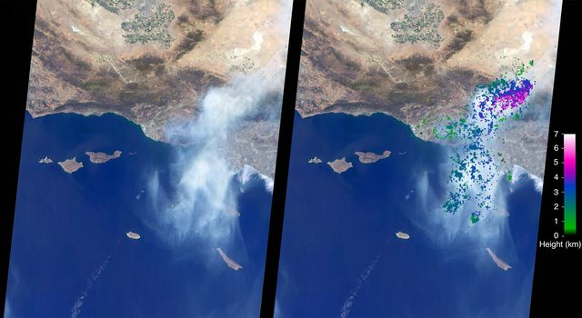 Side-by-side satellite images of the sand fire that show the heigh of the smoke