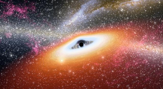 This artist's concept shows one of the most primitive supermassive black holes (central black dot) ever discovered.