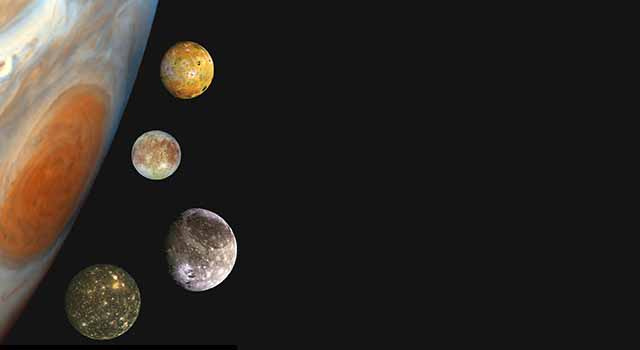 Portrait of Jupiter, Io, Europa, Ganymede and Callisto made with photos from Galileo