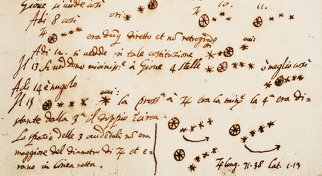 Drawing by Galileo Galilei of Jupiter from