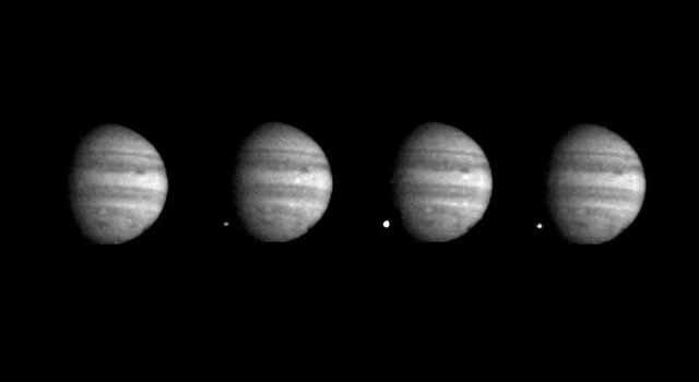 Series of photos from Galileo showing comet Shoemaker-Levy 9 colliding with Jupiter