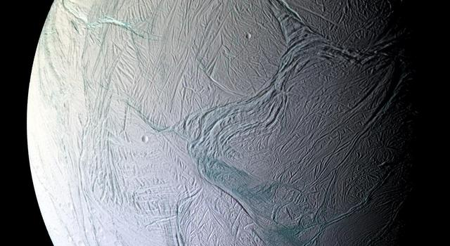 A mosaic of Saturn's moon Enceladus as captured by the Cassini spacecraft.