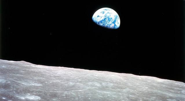Earth and seen from the surface of the Moon