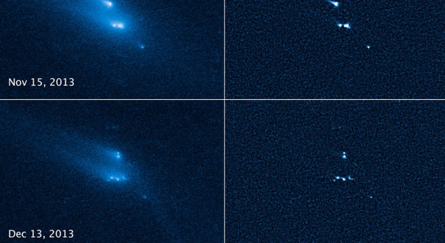 In 2013, NASA's Hubble Space Telescope captured these scenes of an asteroid breaking apart.