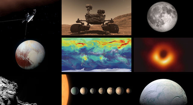 Collage of images and illustrations of planets, spacecraft and space objects