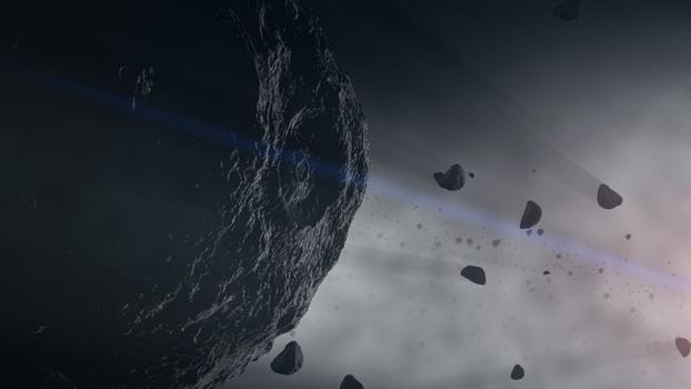 An rocky asteroid with a large crater fills most of the frame of this hazy, blue-toned illustration.