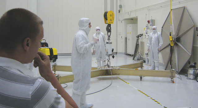Jason Carlton in the clean room at JPL