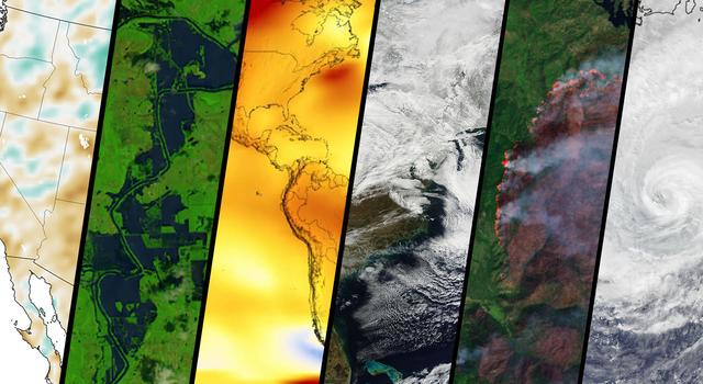 Side-by-side satellite and data images of soil moisture, flooding, temperature, a snowstorm, a wildfire and a hurricane