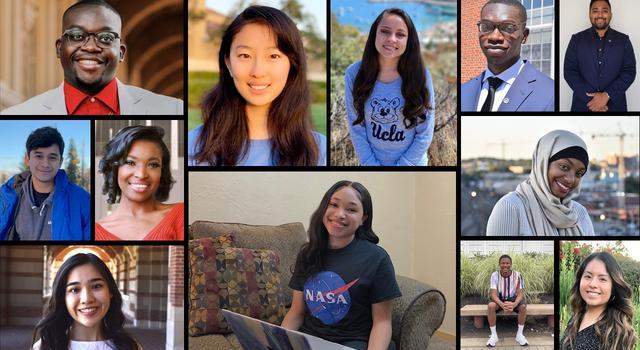 Photo collage of interns who participated in JPL's HBCU/URM initiative in 2021