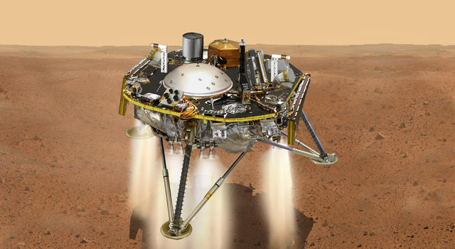 Illustration of InSight landing on Mars