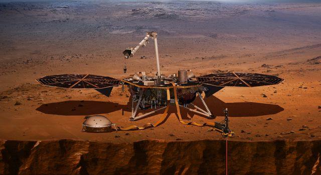 Artist concept of the InSight lander on Mars