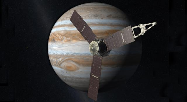 Illustration of the Juno spacecraft at Jupiter