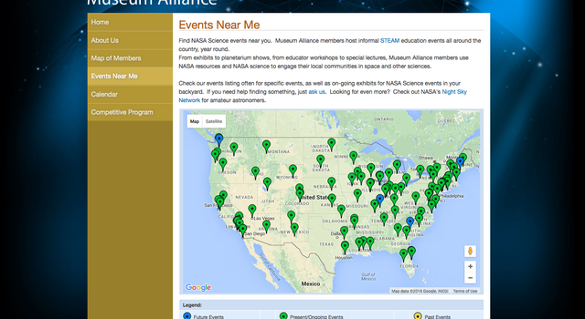 "Screen grab of the NASA Museum Alliance ""Events Near Me"" map"