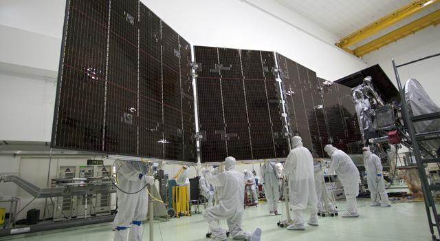 Solar arrays on NASA's Juno spacecraft being prepped for launch
