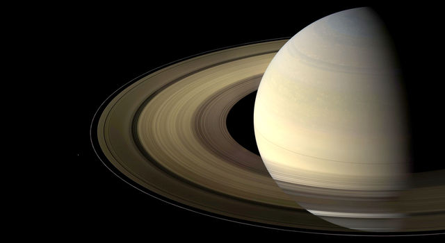 Brightened processed image of Saturn from Cassini to highlight the F ring