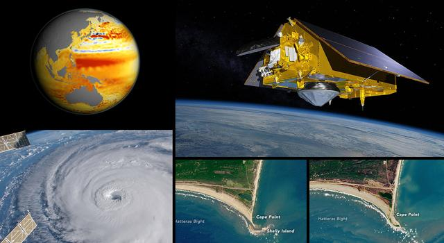 Collage of images and graphics representing the science goals of the Sentinel-6 Michael Freilich mission