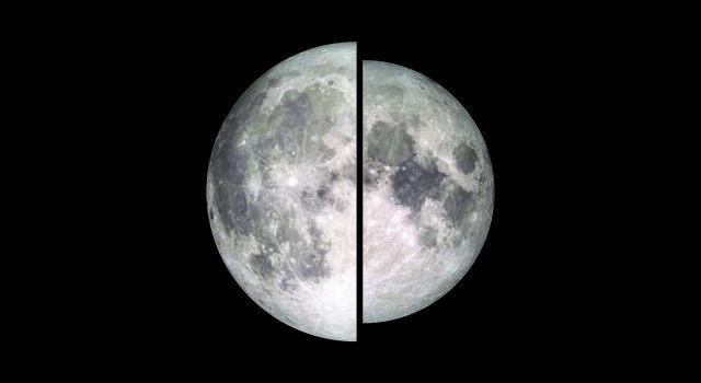 "Image showing the difference in size and brightness between a full moon at apogee and a full moon at perigee, also called a ""supermoon"""