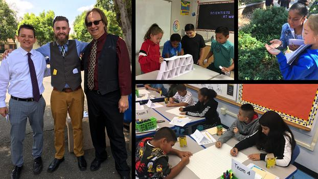 Collage of images showing Toluca Lake Elementary's fifth-grade teachers and students working on projects