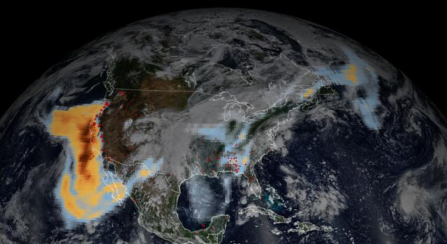 Data overlayed on a satellite image of the United States shows a thick cloud of aerosols over the western US