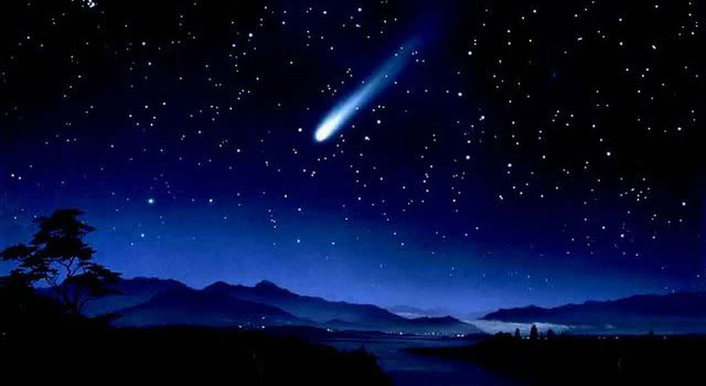 Illustration of a comet streaking through a blue night sky