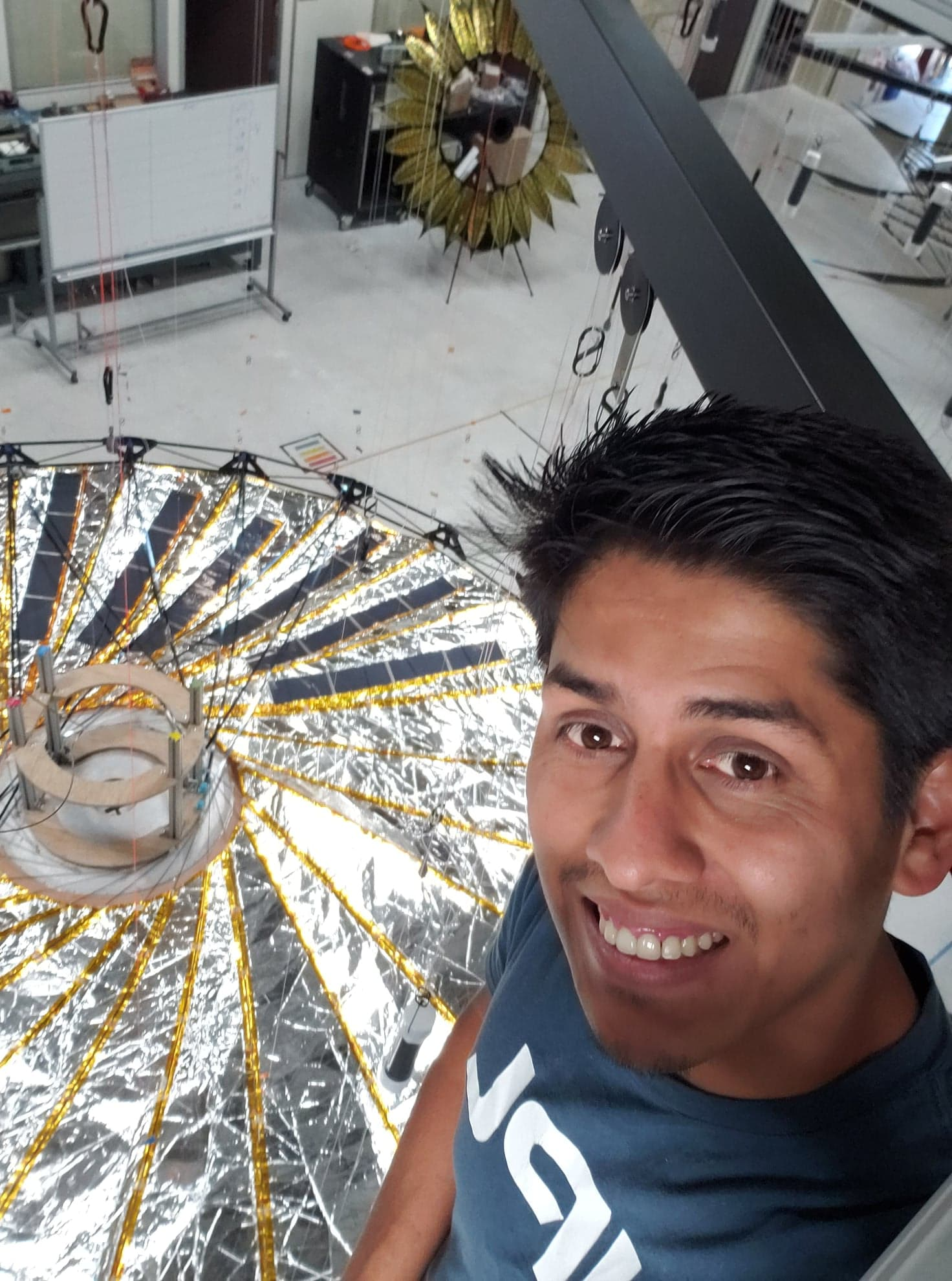 JPL intern Christopher S Esquer-Rosas designs and builds large-scale origami deployables
