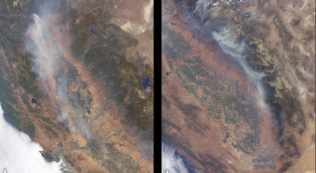 Satellite images of the 2018 Carr and Ferguson wildfires in California