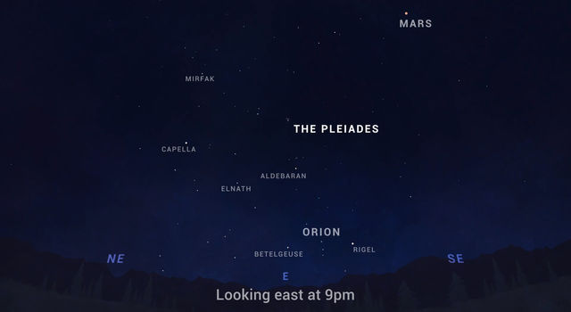 The Pleiades star cluster, which includes the stars Mirfak, Capella, Aldebaran, Elnath, Orion, Betelgeuse and Rigel, can be seen in the east in the first couple of hours after dark.