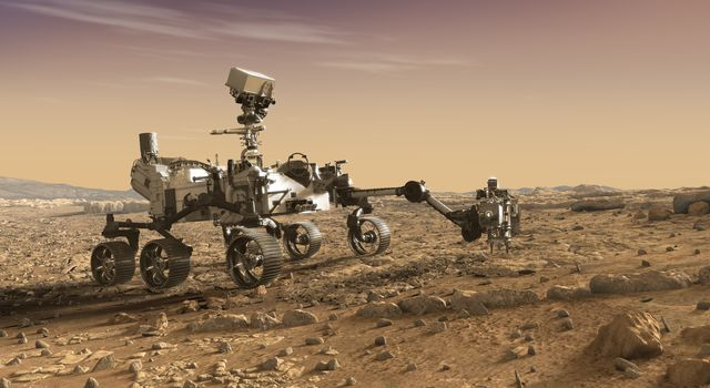 Artist's concept showing the Perseverance rover collecting samples on Mars