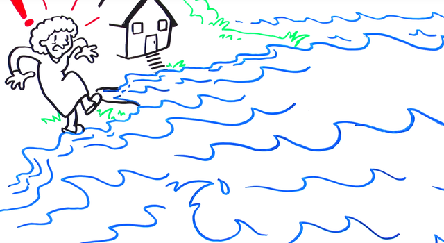Illustration of water encroaching on a home